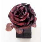 Rose no 9, de l'artiste Denis Lebel, Sculpture, Cuivre, base en bois, Création unique