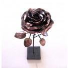 Rose no 7, de l'artiste Denis Lebel, Sculpture, Cuivre, base de métal, Création unique, vue B