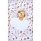 Rose, no 2, de l'artiste Marie-Pierre Lortie, Oeuvre techniques mixtes sur soie avec teinture naturelle, Création unique,dimension 25 x 15 pouces de largeur