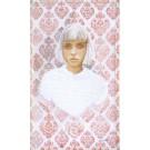 Rose, no 4, de l'artiste Marie-Pierre Lortie, Oeuvre techniques mixtes sur soie avec teinture naturelle, Création unique,dimension 25 x 15 pouces de largeur