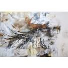 Rose des vents, de l'artiste Sandy Cunningham, Tableau, Techniques mixtes sur toile, Création unique, dimension : 48 x 72 po de largeur