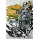 Shaman (t.encadré), de l'artiste Sandy Cunningham, Tableau, Techniques mixtes sur toile, Création unique, dimension : 48 x 34 po de largeur