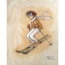 Skieur (3/4), tableau de l'artiste Félix Girard, Tableau, sur bois, Acrylique et graphite, dimension : 16 x 12 po de largeur