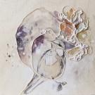 Sonate, de l'artiste Anne-Marie Villeneuve, Tableau, Acrylique et fils de coton sur panneau de bois, Création unique, dimension : 8 x 8 po de largeur