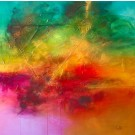 Des éclats de vertige, de l'artiste Sophie Ouellet, Tableau, technique mixte sur toile, Création unique, dimension : 36 x 36 po de largeur