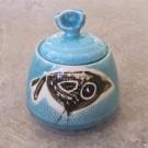 Sucrier, # 4, bleu aqua, de l'artiste Créations Ratté, medium : céramique, objet utilitaire cuit à très haute température, résistant au four, au micro-onde et au lave-vaisselle