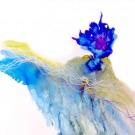 Sur le point de s'envoler (t.encadrée), de l'artiste Marie-Pier Sanfaçon, Sur papier Yupo, oeuvre encadrée, techniques mixtes, Création unique, dimension : 12 x 12 po de largeur