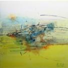 T'accompagner, de l'artiste Sophie Ouellet, Tableau, acrylique sur toile cartonnée, Création unique, dimension : 16 x 16 po de largeur