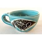 Tasse cappucino, # 14, aqua, de l'artiste Créations Ratté, medium : céramique, objet utilitaire cuit à très haute température, résistant au four, au micro-onde et au lave-vaisselle