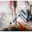 Trace sociologique, de l'artiste Annie Lévesque, Tableau, acrylique et crayon sur toile brute, dimension : 30 x 30 pouces de largeur