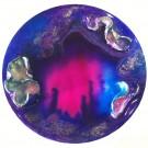 Nocturne, de l'artiste Marie-Pier Sanfaçon, Tableau, Techniques mixtes, argile, epoxy, sur bois, Création unique, dimension : 10 po rond sur 1 1/8 d'épaisseur