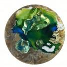 Triplicité, Nymphea, de l'artiste Marie-Pier Sanfaçon, Tableau, Techniques mixtes, argile, epoxy, sur bois, Création unique, dimension : 10 po rond sur 1 1/8 d'épaisseur