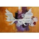 Trophée fleuri, de l'artiste Kim Durocher, Tableau, acrylique mixte, dimension : 24 x 36 pouces de largeur