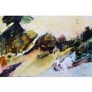 Un vent de changement (t.encadré), de l'artiste Marie-Claire Plante, Tableau, Techniques mixtes, acrylique, encre, pigments secs, fusain, pastel, crayon, Création unique, dimension 24 x 36 pouces de largeur