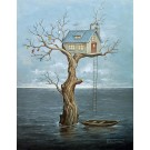 Carte de souhaits 7x5, Water World, de l'artiste Félix Girard, dimension : 7 x 5 pouces largeur, sans texte, avec enveloppe, Vous pouvez inscrire votre message à l'intérieur, Carte vendue à l'unité