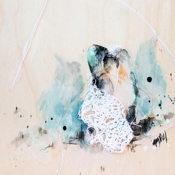 Padre, de l'artiste Anne-Marie Villeneuve, Tableau, Mediums mixtes, Création unique, dimension : 8 x 8 po de largeur
