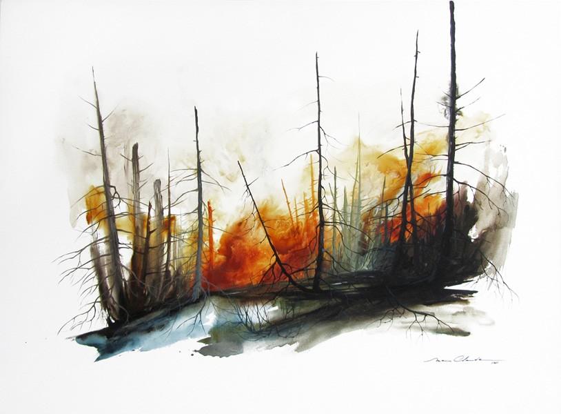 Boréa III, de l'artiste Marie-Claude Bouchard, Tableau, Acrylique, Création unique, dimension 30 x 40 pouces de largeur