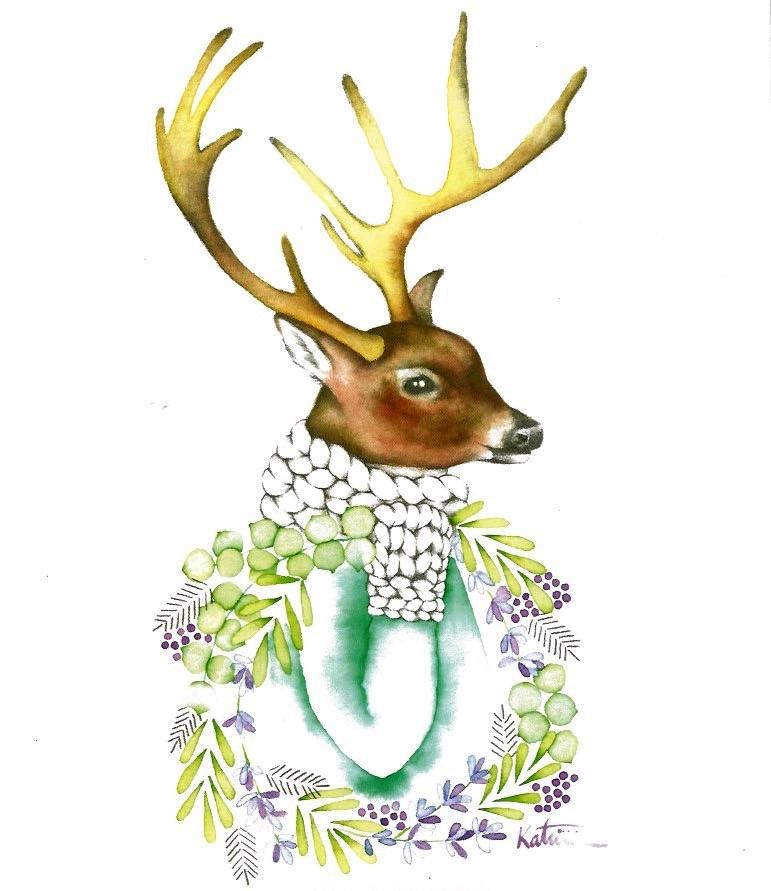 Affiche, Chevreuil et sa couronne, de l'artiste Katrinn Pelletier, dimension : 10 x 8 po de largeur