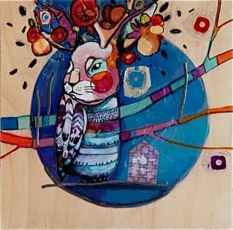 Fleurir ses peurs, de l'artiste Kim Durocher, Tableau, Techniques mixtes sur bois, Création unique, dimension : 10 x 10 po de largeur