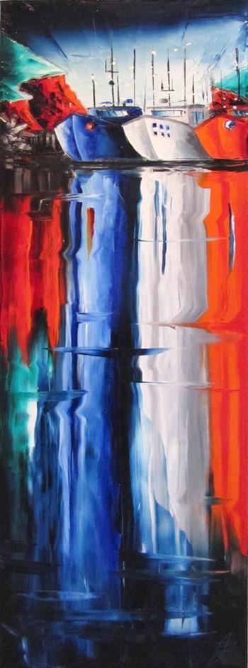 Froide matinée, de l'artiste Jean-Simon Bégin, Tableau, Huile sur toile, Création unique, dimension 48 x 16 pouces de largeur