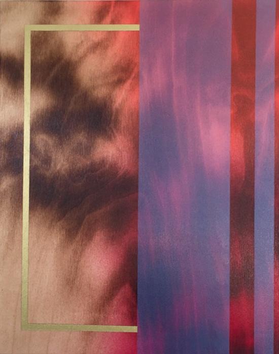 Frost and Decimals II, de l'artiste Mélisa Taylor, Tableau, Pyrogravure et aérosol sur bois, Création unique, dimension 14 x 11 pouces de largeur