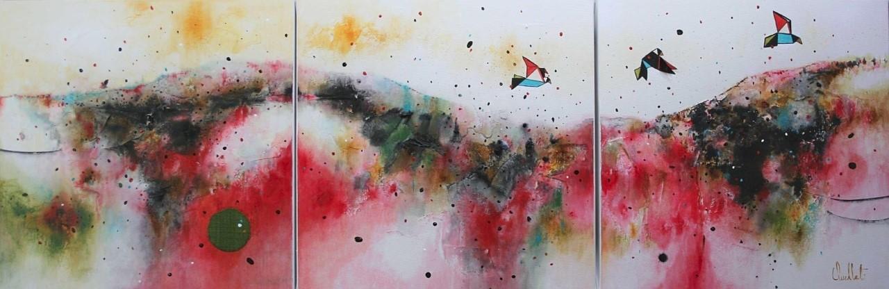Interreliés (triptyque), de l'artiste Sophie Ouellet, Tableau, Mixtes sur toile, 3 pièces, Création unique, dimension totale : 12 x 36 pouces de largeur