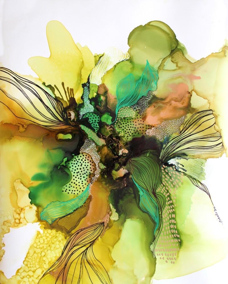 Je vais manquer de temps, de l'artiste Nancy Létourneau, Oeuvre sur papier Terraskin, médium encre à l'alcool, dimension 19.75 po x 15.75 po de largeur,