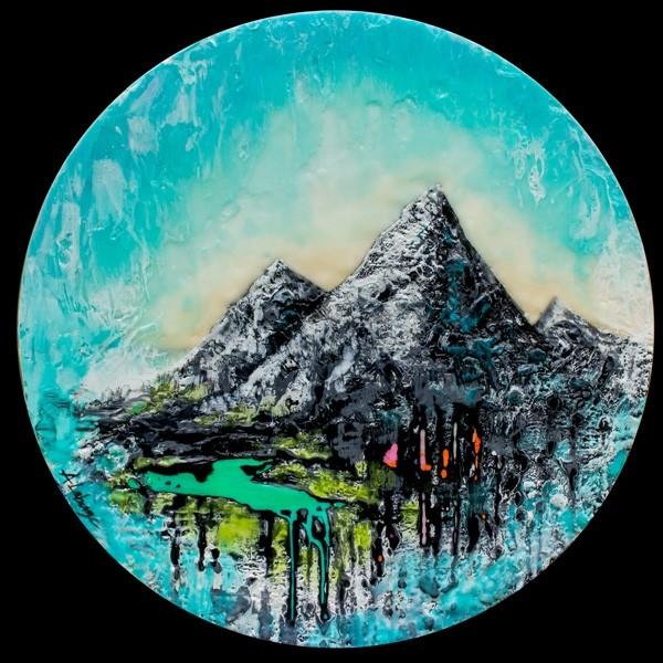 La rivière turquoise, de l'artiste Andrée-Anne Laberge, Tableau, Encaustique sur bois, Création unique, Dimension : Rond 16 pouces