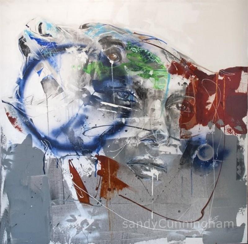 Aralia, de l'artiste Sandy Cunningham, Tableau, Technique acrylique sur toile, Création unique, dimension : 48 x 48 po de largeur