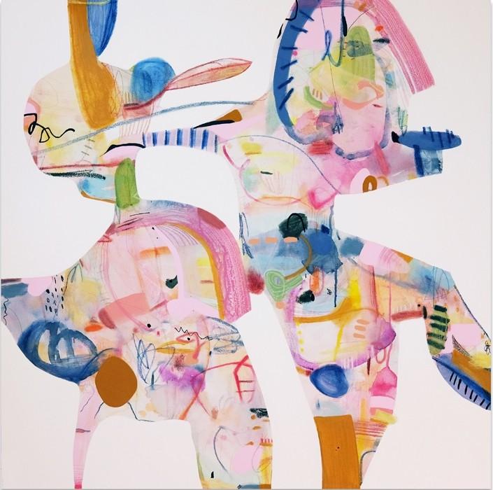 Les danseurs (série Transparences et liaisons), de l'artiste Zoé Boivin, Tableau, Médiums mixtes sur toile, Création unique, dimension 36 x 36 pouces de largeur