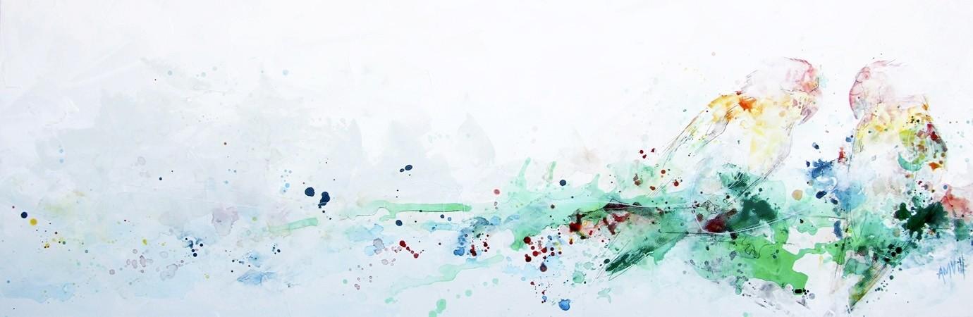 Love at first sight, de l'artiste Anne-Marie Villeneuve, Tableau, Acrylique, fil de coton et graphite sur toile, Création unique, dimension : 20 x 60 po de largeur