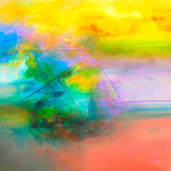 Perdre pied, de l'artiste Sophie Ouellet, Tableau, acrylique sur toile et collage, Création unique, dimension : 36 x 36 po de largeur