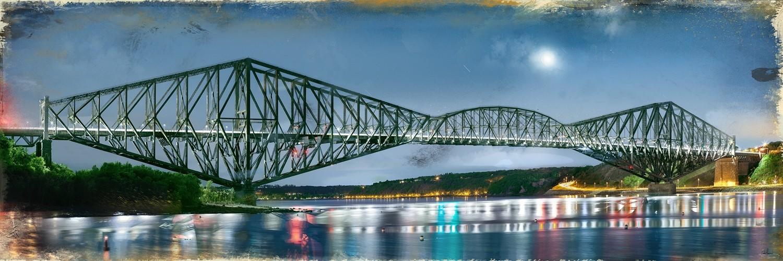 Pont de Québec III  1/3, de l'artiste Pascal Normand, Estampe numérique, technique mixte, dimension : 36 x 108 po de largeur