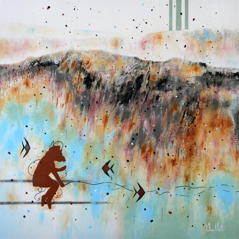 Prière de ne pas déranger, de l'artiste Sophie Ouellet, Tableau, mixtes sur canevas galerie, Création unique, dimension : 24 x 24 po de largeur