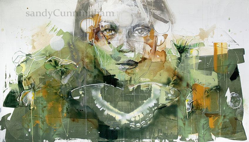 Primevère du soir, de l'artiste Sandy Cunningham, Tableau, Acrylique sur toile, Création unique, dimension : 48 x 84 po de largeur