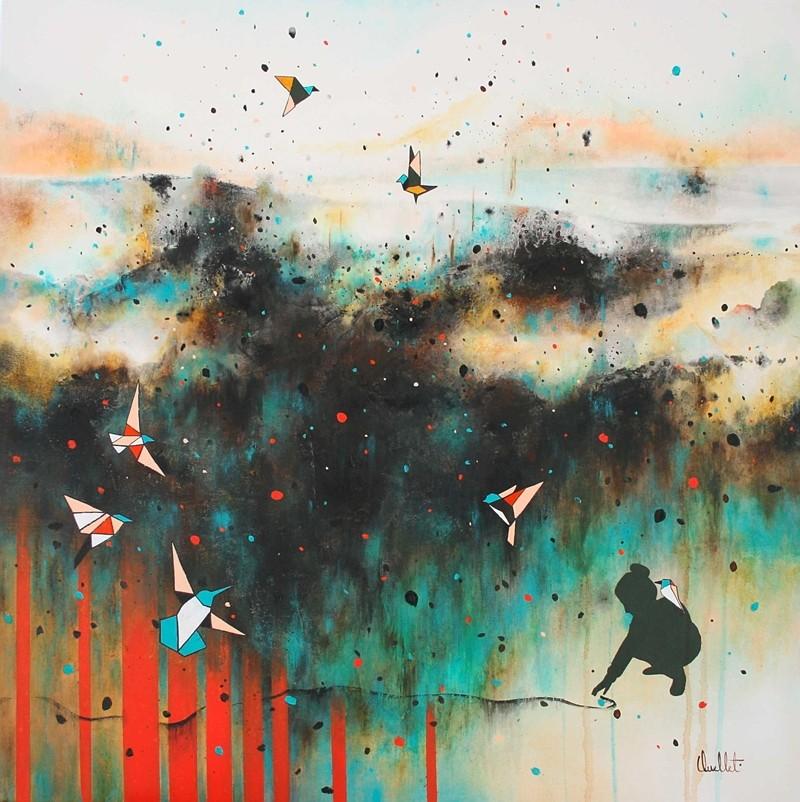 Recoller les morceaux, de l'artiste Sophie Ouellet, Tableau, mixtes sur toile, Création unique, dimension : 30 x 30 po de largeur