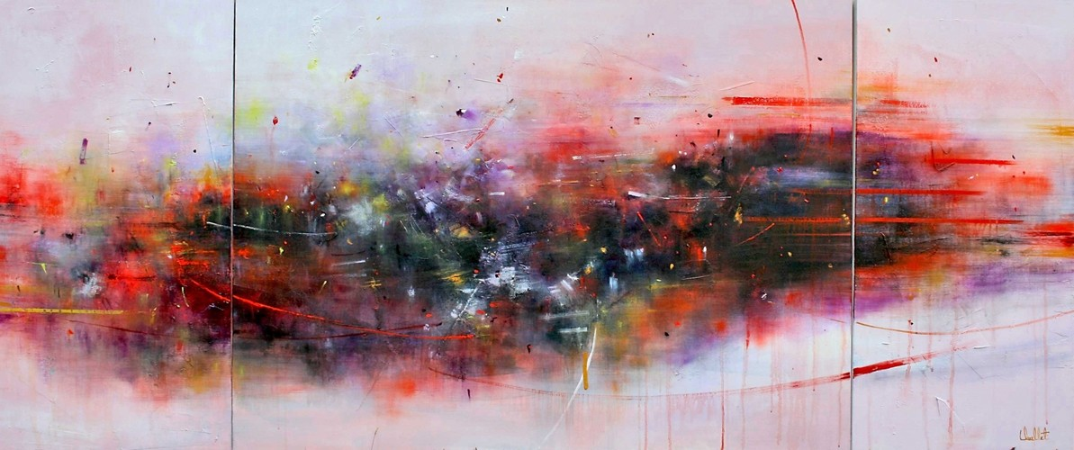 Rester en mouvement (triptyque), de l'artiste Sophie Ouellet, Tableau, acrylique sur toile, Création unique, dimension totale : 30 x 70 po de largeur
