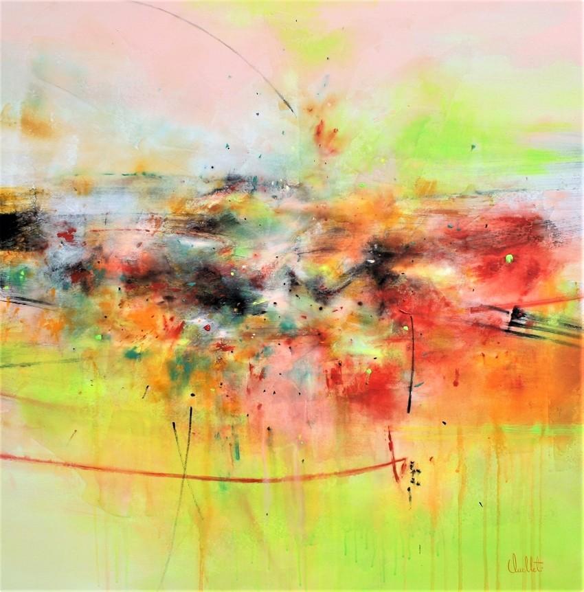 Se rencontrer en silence, de l'artiste Sophie Ouellet, Tableau, Acrylique sur toile, Création unique, dimension : 36 x 36 po de largeur