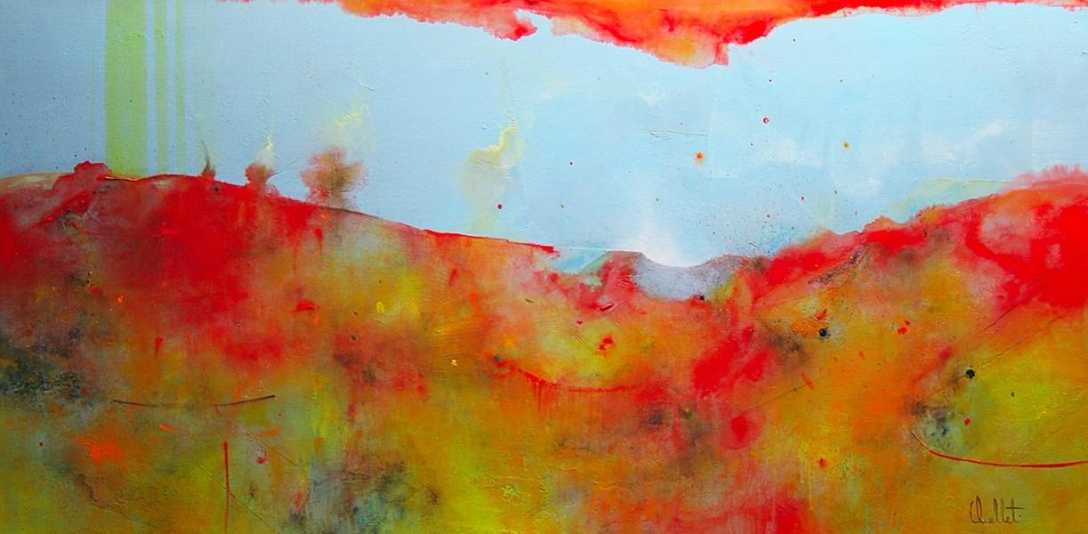 Ventiler (t.encadré), de l'artiste Sophie Ouellet, Tableau, acrylique sur toile, Création unique, dimension : 18 x 36 po de largeur
