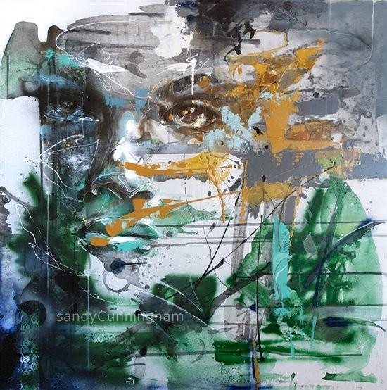 Verge D'or, de l'artiste Sandy Cunningham, *Série : La flore sauvage du Québec, Tableau, Acrylique, Création unique, dimension : 48 x 48 po de largeur