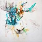 Grandeur d'âme, de l'artiste Anne-Marie Villeneuve, Tableau, Acrylique et fils de coton sur toile, Création unique, dimension : 20 x 20 po de largeur
