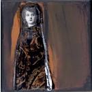 La captivante, no 8, de l'artiste Anik Lachance, Collection, L'armée de femmes, Tableau, Techniques mixtes, Création unique, dimension : 6 x 6 po de largeur