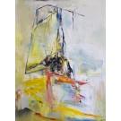 Abstraction solaire, de l'artiste Benoit Genest Rouillier, Tableau, Acrylique sur toile, Création unique, dimension : 48 x 36 po de largeur