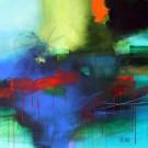 Accrochée aux ailes bleues de la nuit, de l'artiste Sophie Ouellet, Tableau, Acrylique sur toile de coton, dimension : 24 x 24 po de largeur