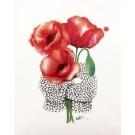 Affiche, Tricot fleurs coquelicots, de l'artiste Katrinn Pelletier, dimension : 10 x 8 po de largeur
