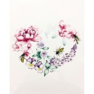 Affiche, Coeur floral Abeilles, de l'artiste Katrinn Pelletier, dimension : 10 x 8 po de largeur