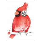 Affiche, Oiseau cardinal, de l'artiste Katrinn Pelletier, dimension : 10 x 8 po de largeur