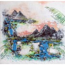Le meilleur des mondes, de l'artiste Andrée-Anne Laberge, Tableau, Encaustique sur bois, Création unique, dimension : 30 x 30 po de largeur