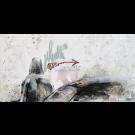 Einsamkeit, de l'artiste Annie Levesque, Tableau, acrylique et encre sur toile, dimension : 12 x 24 pouces de largeur