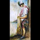 Second de cordée, de l'artiste Annie Lévesque, Tableau, acrylique sur toile, dimension : 47 x 24 pouces de largeur